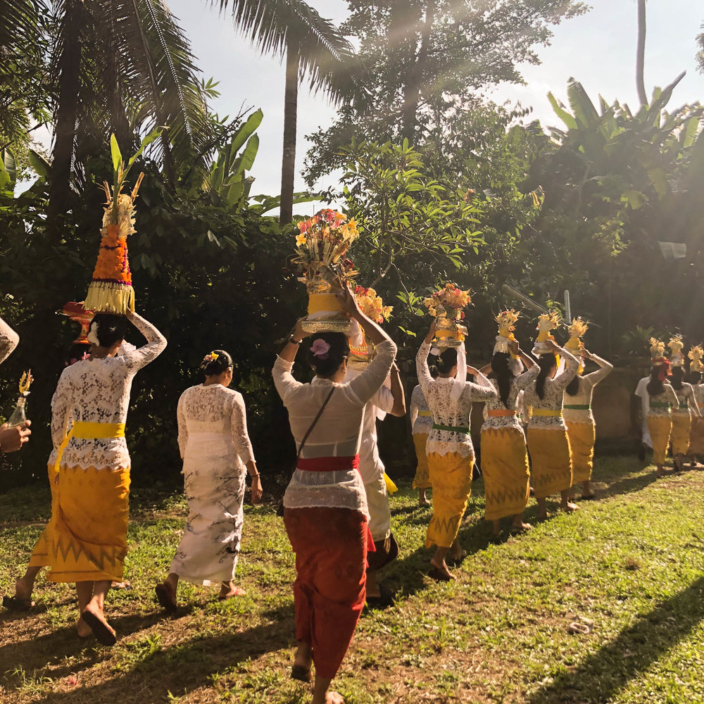 A Balinese Ceremony procession. The women are carrying fruits, flowers, and offerings on their heads during this procession.