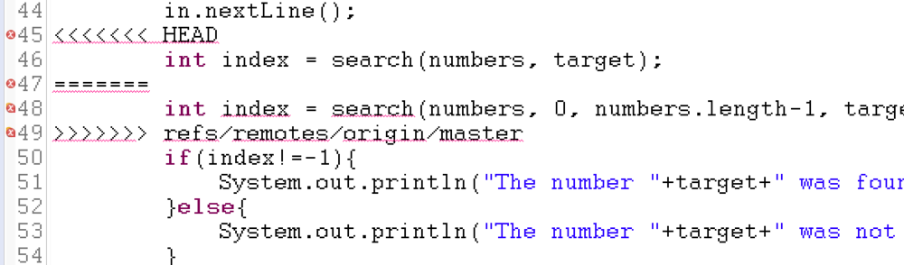 An example of the notation that is automatically generated when a merge conflict is found.