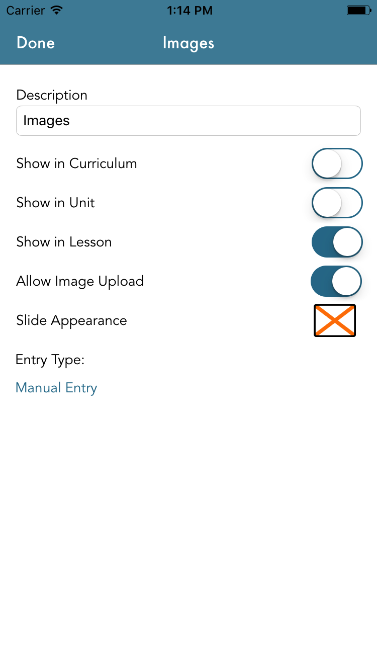 Settings for a lesson component that allows image upload