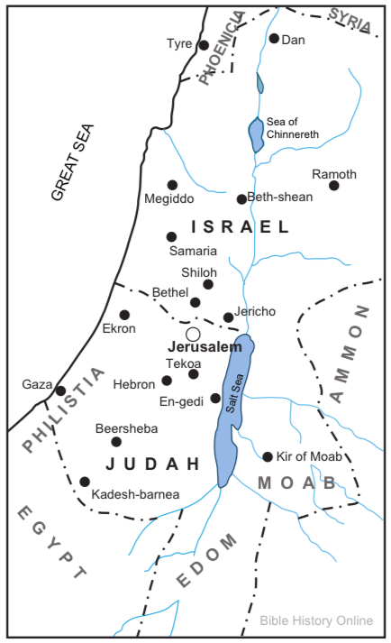 Geography Lesson - Israel is also known as the Northern kingdom while Judah was the Southern kingdom. The capital of Israel at that time was Samaria while the capital of Judah and the location of the temple was Jerusalem.