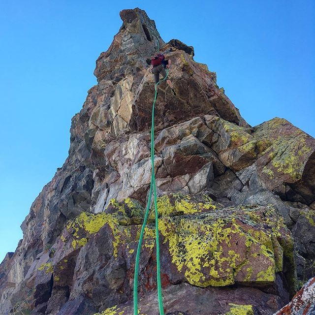 @skithegarage on a full rope length free hanging rappel at 12,500 feet in the Gore Range