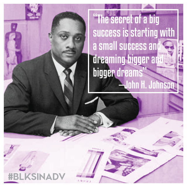 "John H. Johnson,  along with his wife Eunice Walker Johnson, built an African-American lifestyle-inspired media and cosmetics empire in Chicago that included Ebony, Jet and Fashion Fair Cosmetics. Today, these publications and their digital sites reach nearly 72% of African-Americans and have a following of over 20.4 million.  Johnson briefly attended both University of Chicago and Northwestern University, and was involved as a member of Alpha Phi Alpha Fraternity Inc. Soon after his time in school, he launched a magazine, The Negro Digest, in 1942. The Negro Digest was the foundation for Ebony Magazine. With a desire to create quality content for Blacks in the United States, Johnson began his publishing and cosmetics conglomerate with just $500 dollars.   In 1954 the Johnson Publishing Company financed a film, ""The Secret of Selling the Negro Market, to encourage advertisers to promote their products and services in the African-American media. The film showed African-American professionals, housewives and students as participants in the American consumer society, and it emphasized the economic power of this demographic community.   Johnson was the first black person to appear on the Forbes 400 Rich List, and had a fortune estimated at close to $600 million. Johnson served on the Board of Directors of Dillard's Inc., and he has served on the boards of First Commercial Bank, Little Rock; Dial Corporation; Zenith Radio Corporation; and Chrysler Corporation."