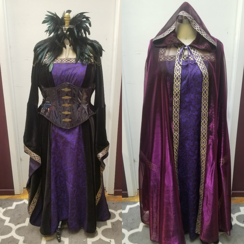 custom Morgana Le Fey dress corset and cape