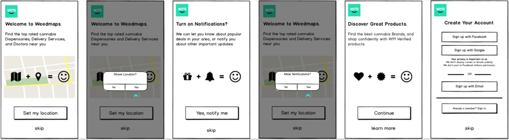 Native Onboarding Wireframes