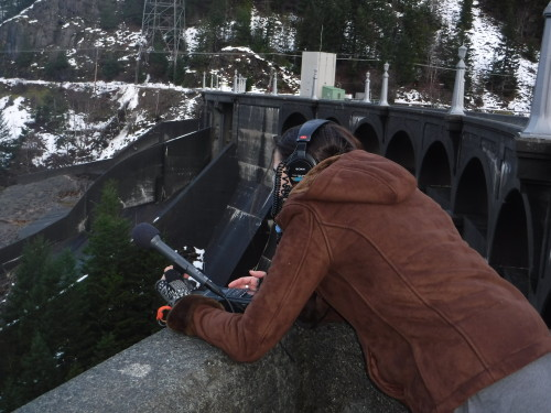 Hannah recording the echoes on Diablo Dam.