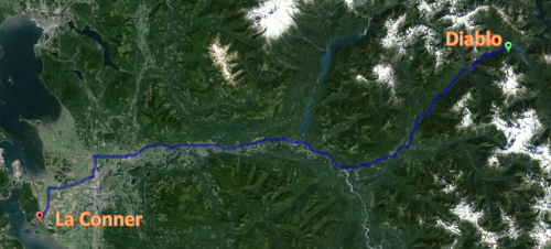 First leg of our three day trip. Photo courtesy of Google Earth.