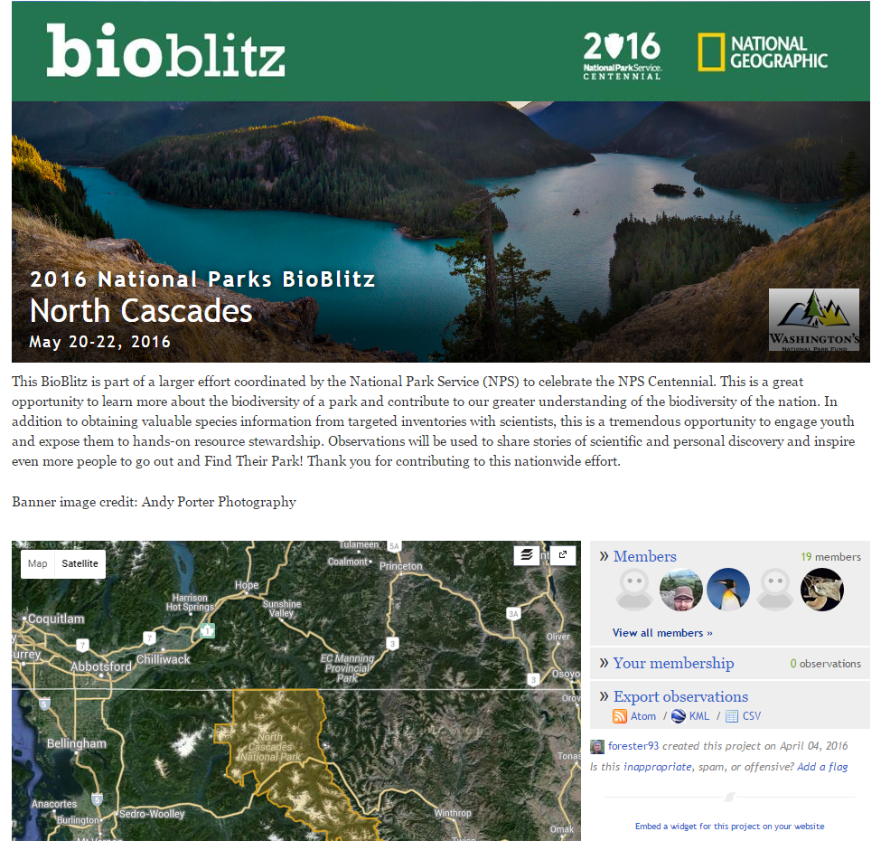 iNaturalist page for the BioBlitz project.