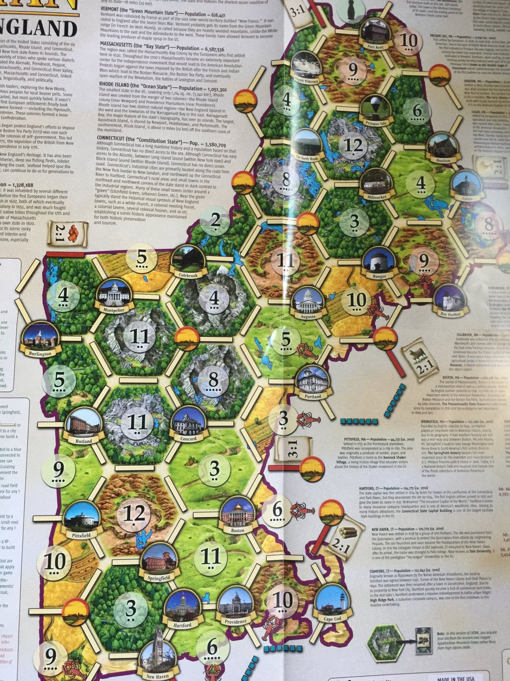 The geography of New England, as a board for Settlers of Catan.