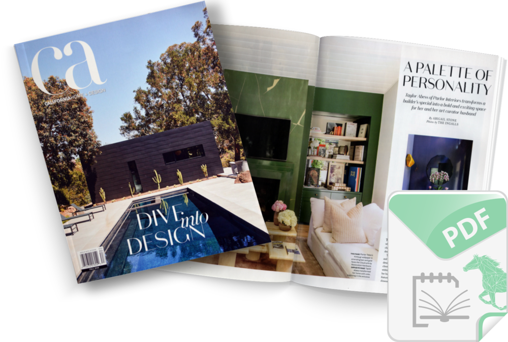 California Home + Design - California Home + Design is a powerful voice, declaring what California design is today. Like the most celebrated interior designers, artists and architects, they have their own distinct creative vision that inspires, informs and influences.Racing Green Article: A Palette of Personality By Abigail Stone 10/25/18Click on image to download a PDForto read online click HERE