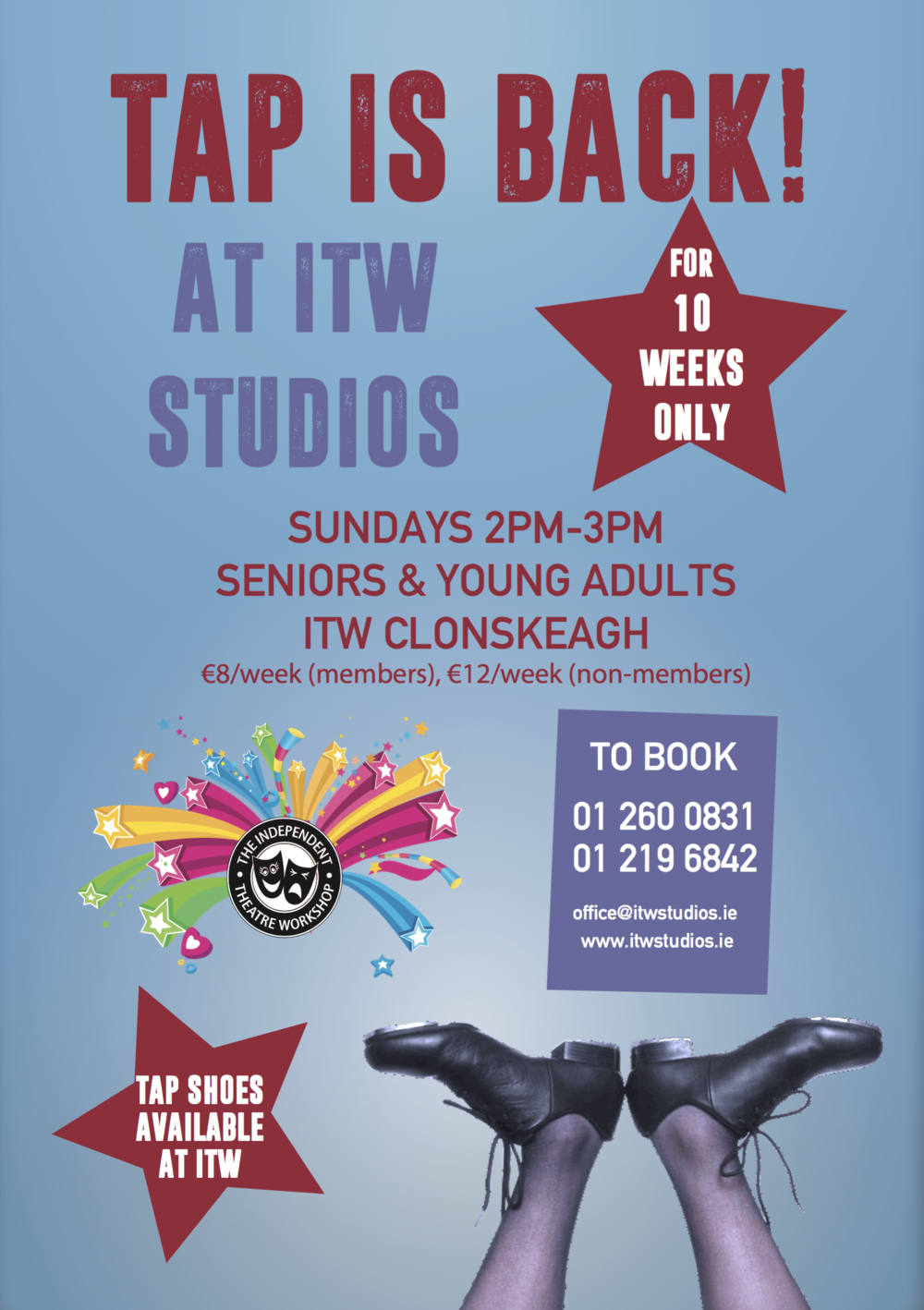 Book in now for TAP in Term 3! A 9 week Tap class for Seniors and Young Adults begins on Sunday 26th February! ITW has shoes for you to borrow, and it's being offered at a discounted rate for the 9 week term. Try it out, bring a friend, but book in quickly as the class is subject to minimum and maximum numbers.