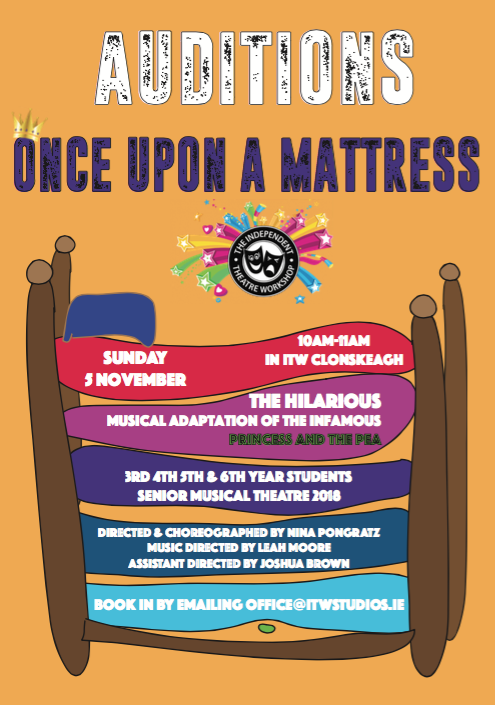 once upon a mattress broadway poster. musical theatre opportunities at itw u2014 the independent workshop once upon a mattress broadway poster