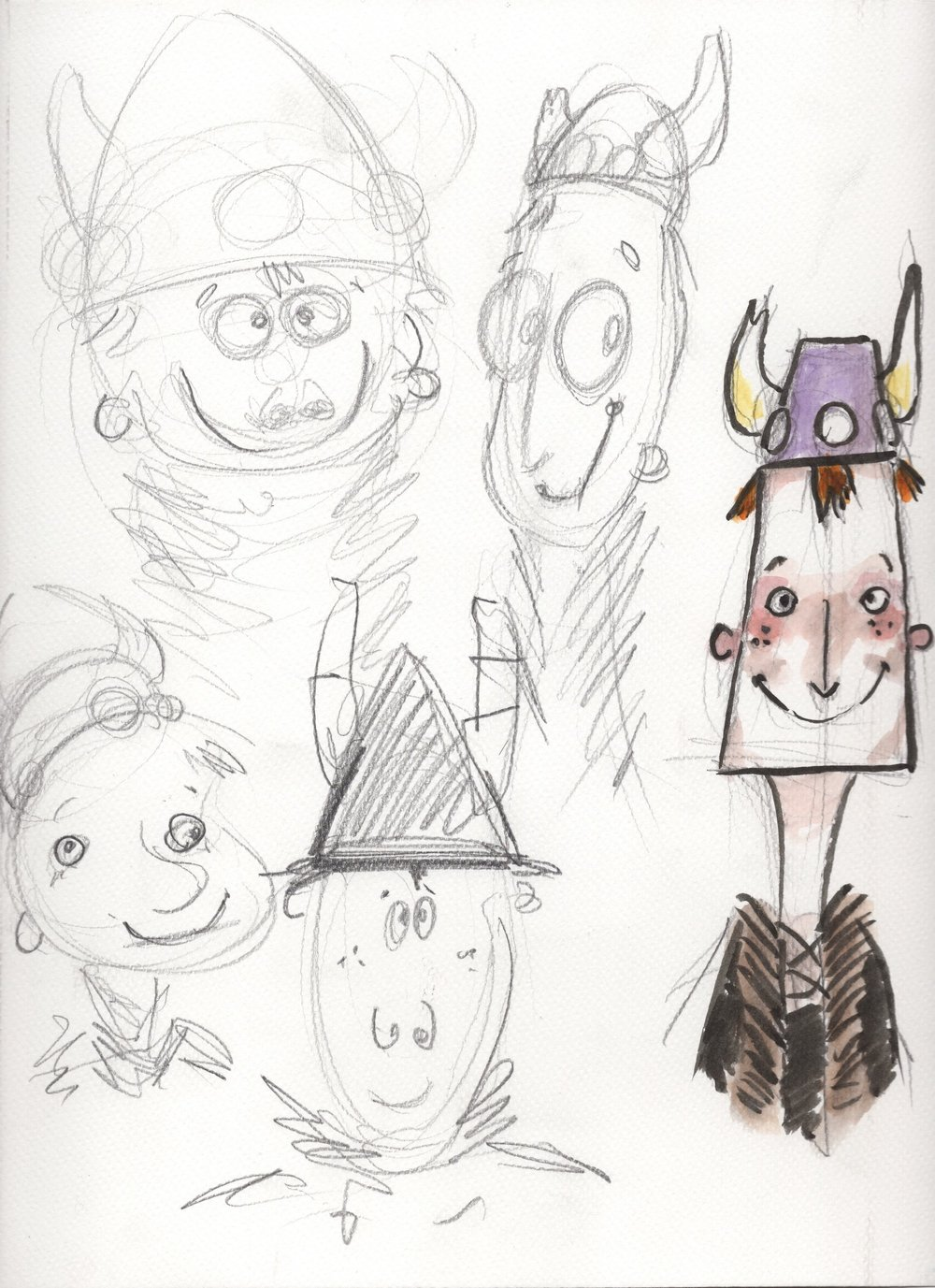 Some early sketchbook designs for an animation project by Joshua Brown