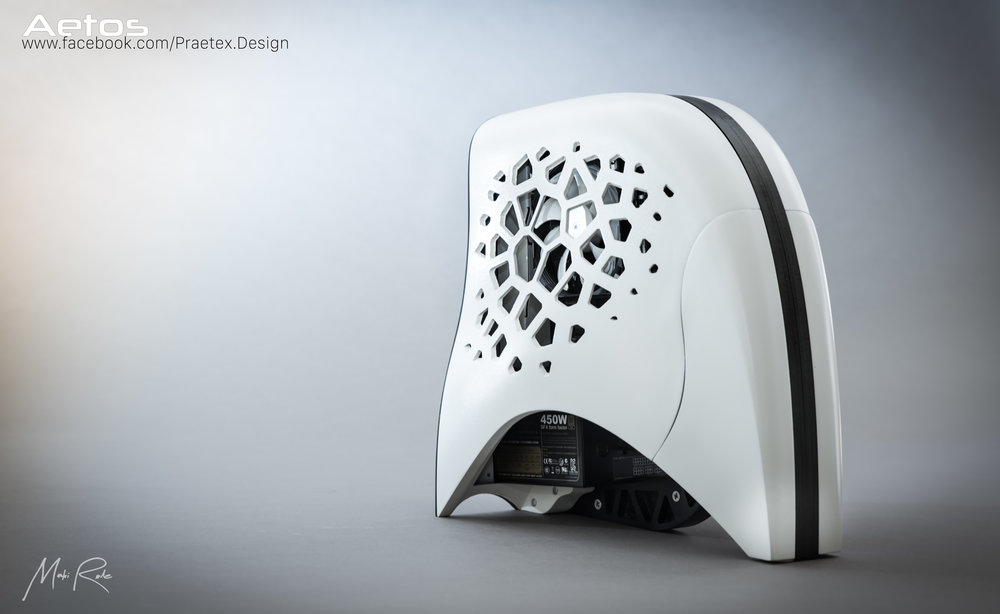 PROJECT AETOS, 2016    In August 2015 I was contacted by AMD with the view to designing a case from scratch that could show off their latest graphics card, the R9 Nano.    Aetos is a one of a kind design that really pushed my CAD skills thanks to the organic shaping.  The exterior chassis was 3D printed whilst the interior frame was CNC machined from acetal.