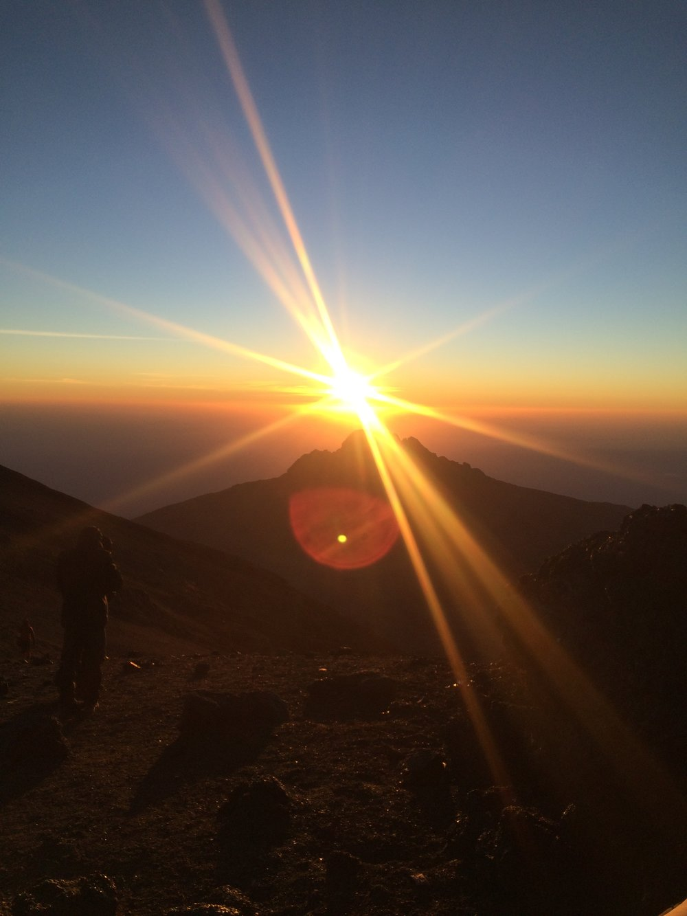 Sunrise just before Stella Point on Mount Kilimanjaro
