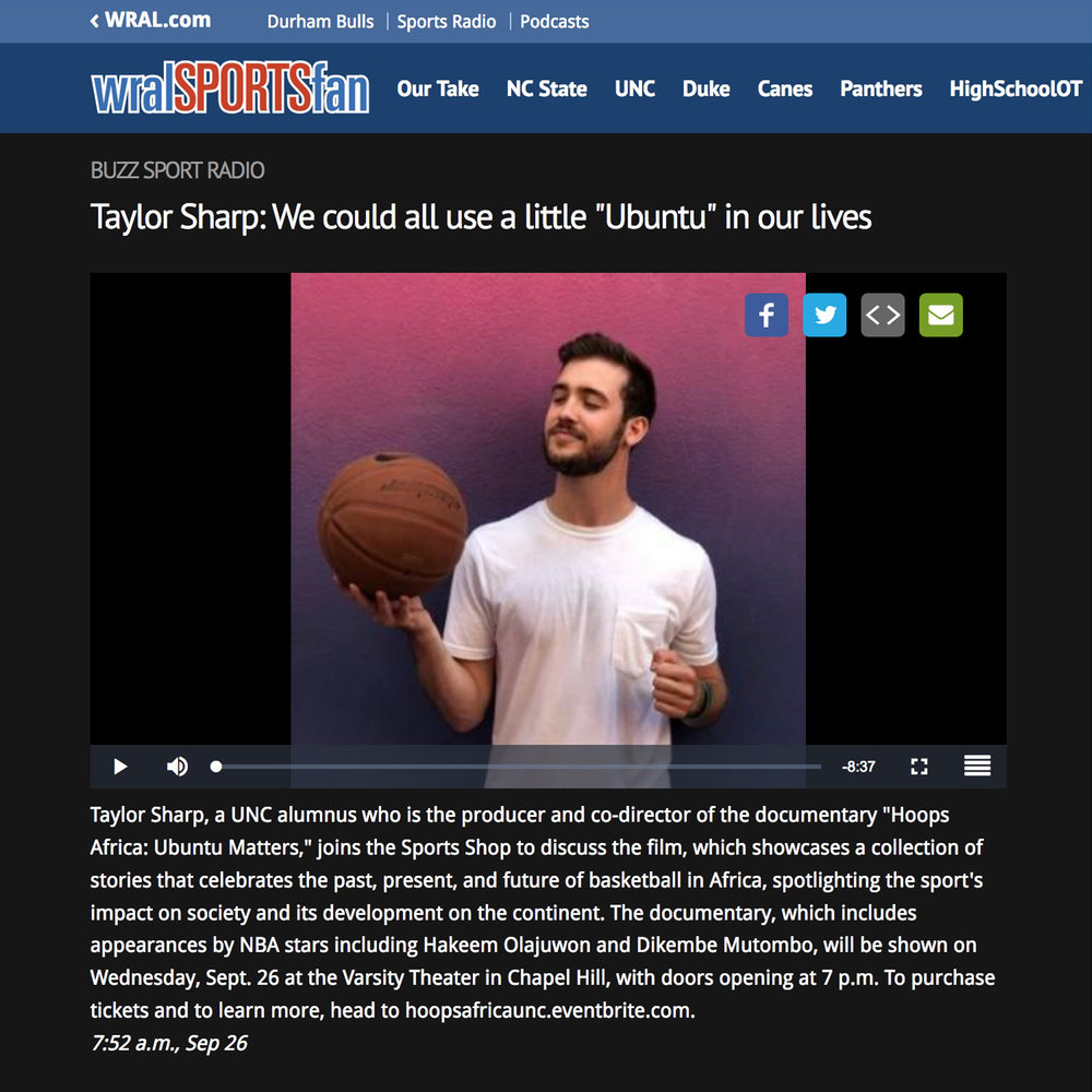 """WRAL Sports Fan   Radio Show - Taylor Sharp: We could all use a little """"Ubuntu"""" in our lives"""