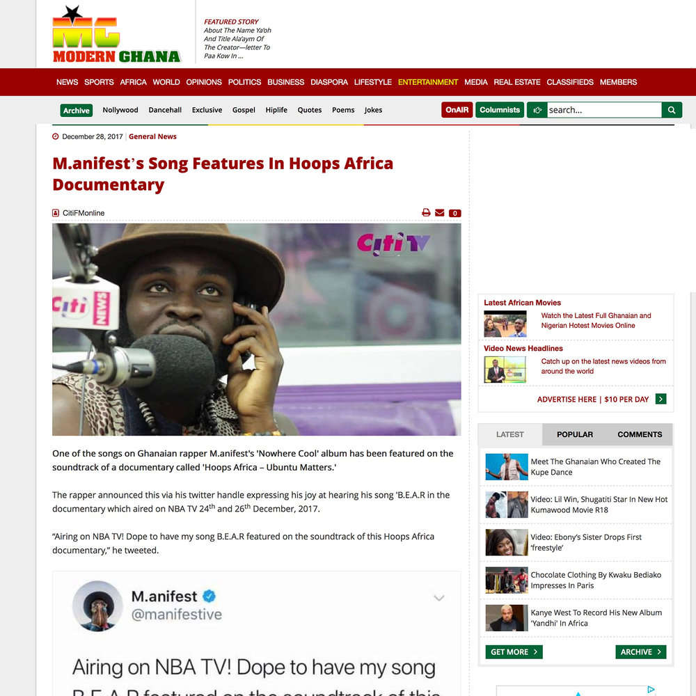 Modern Ghana   Article - M.anifest's Song Features In Hoops Africa Documentary.