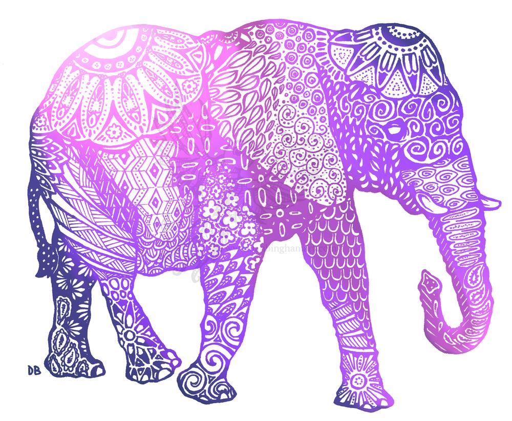Zentangle Elephant (Violets Variant)