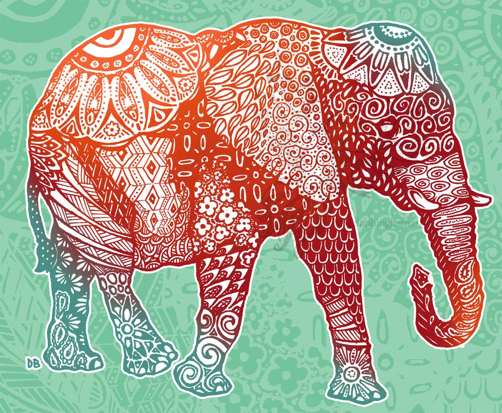 Zentangle Elephant (Red/Orange/Blue Variant)