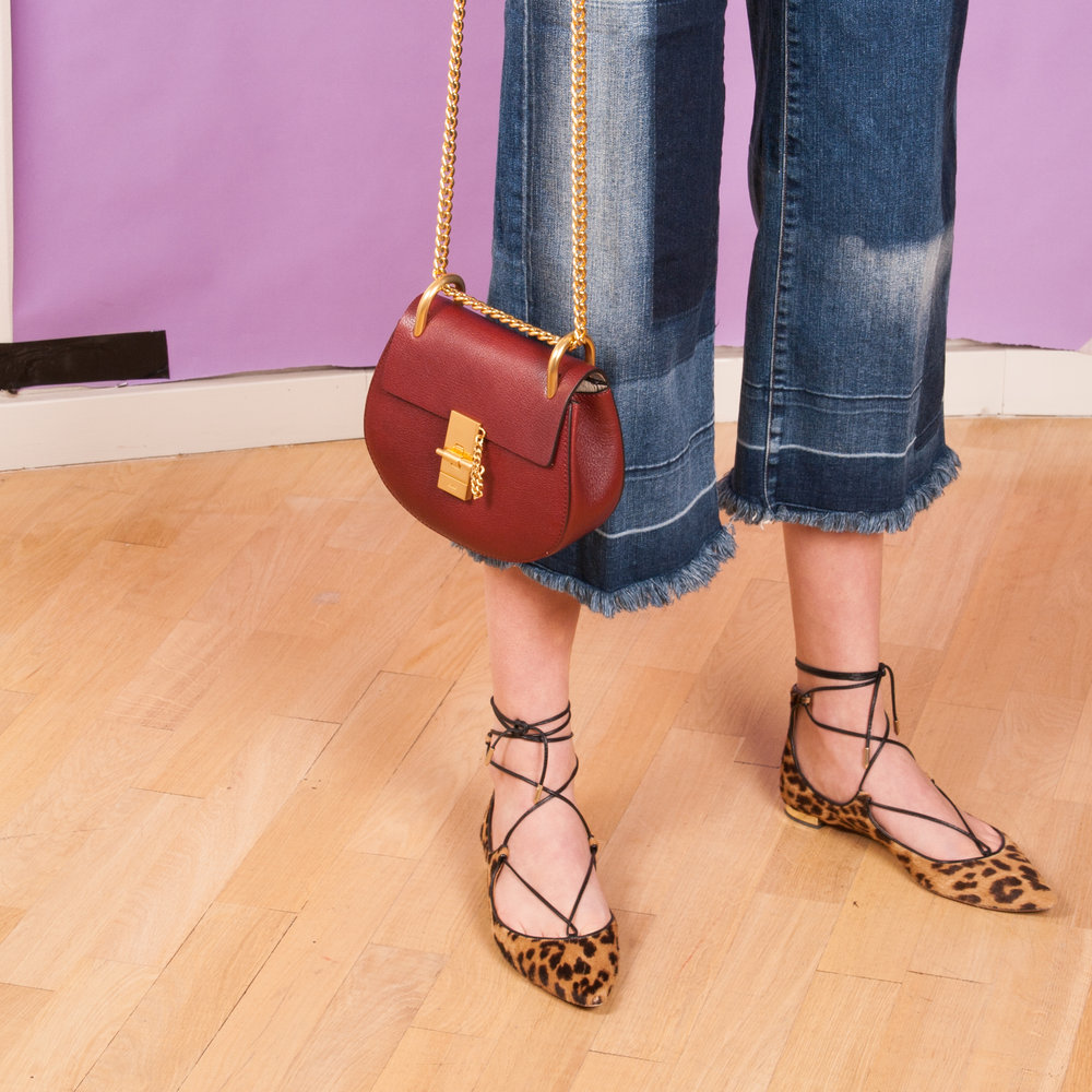 Jeans: J Brand  Bag: Chloé Mini Drew   Shoes: Aquazzura Christy Flat