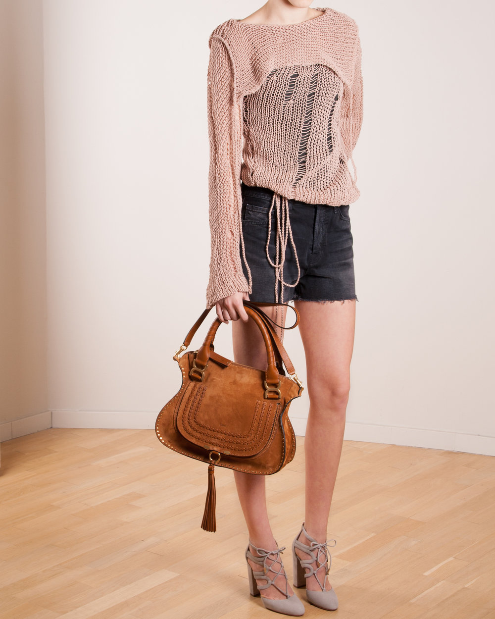 Knit: Philosophy   Denim shorts: J Brand  Bag: Chloé Marcie   Shoes: Aquazzura Holli