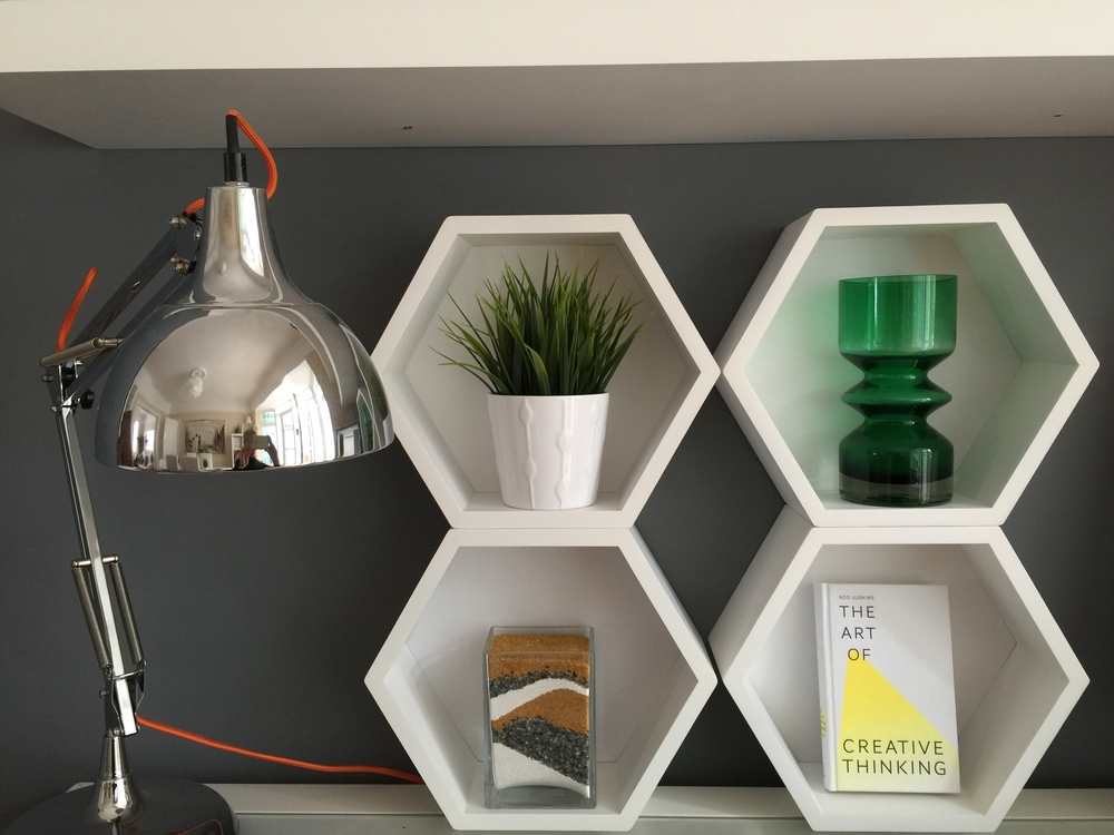 Hexagonal cube shelving