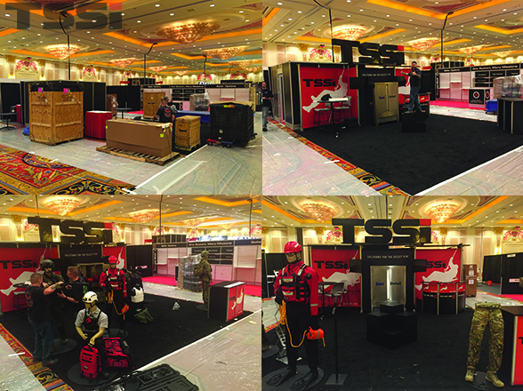 The TSSi team works hard to set up our large booth at SHOT Show 2016.