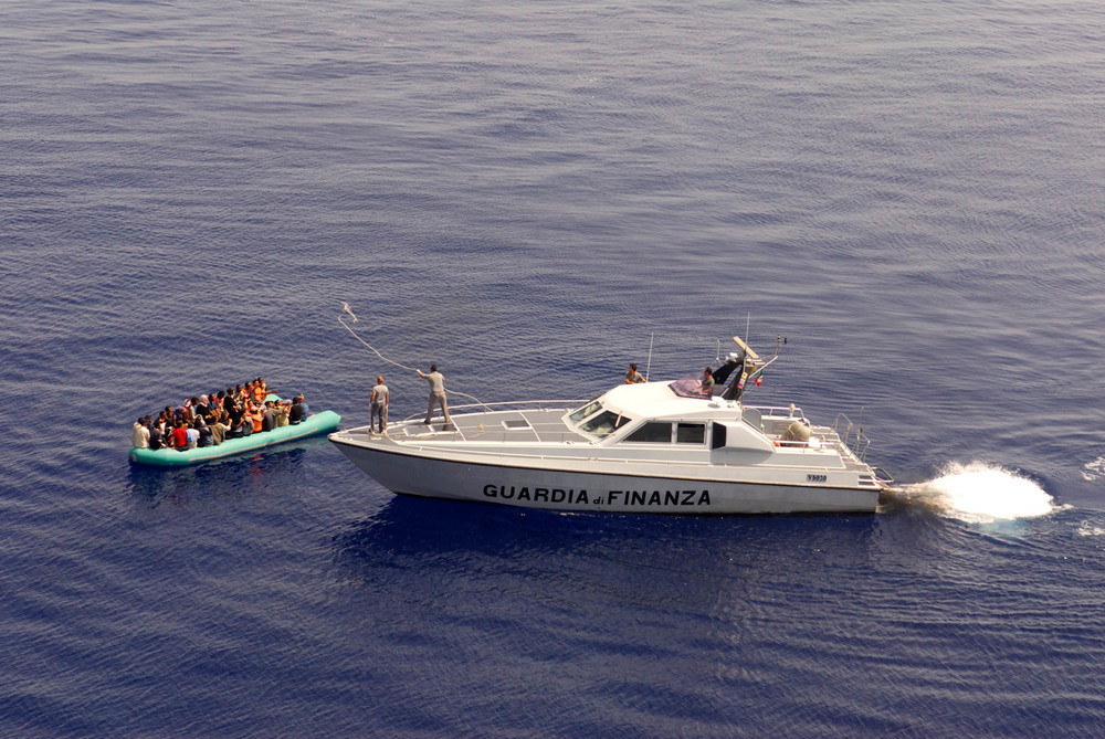 Sicily - Illegal Immigration - Rescue of Immigrants vessel