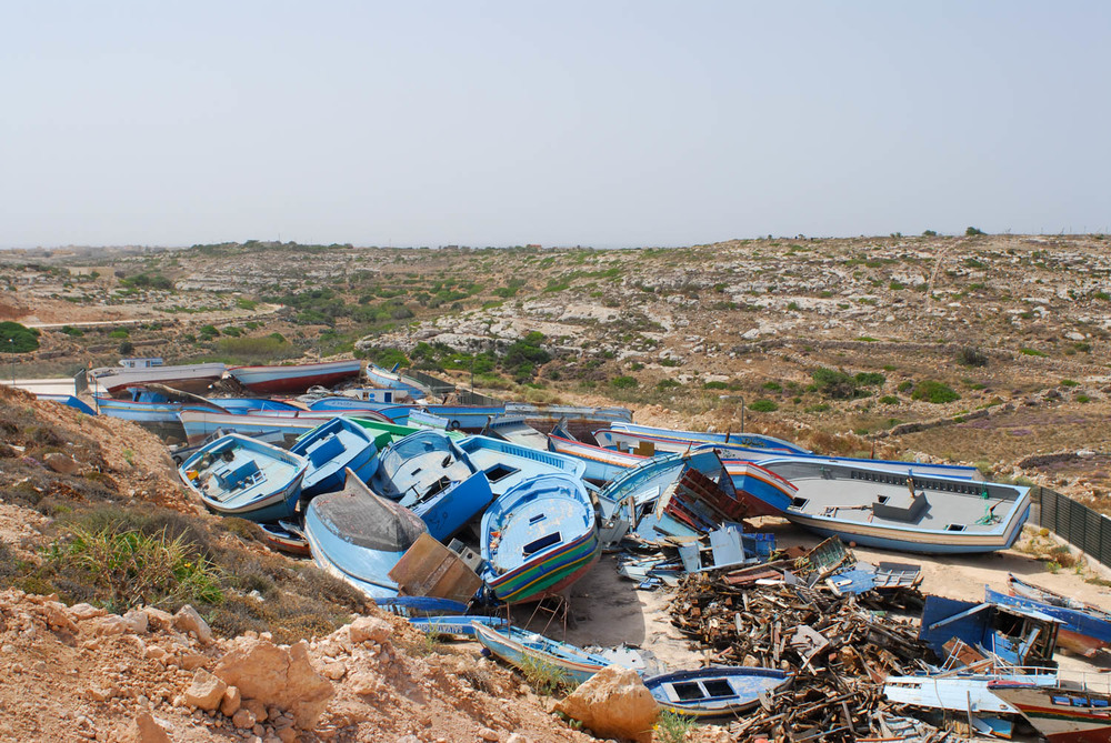 Sicily - Illegal Immigration - boat cemetry