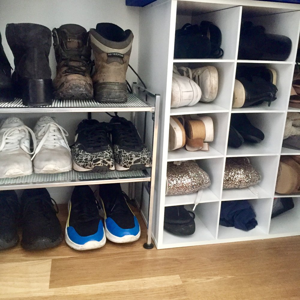 A Proper Shoe Rack - It's imperative to find the right combo of shoe racks. Avoid the slanted shoe racks at all costs (unless it's only for heel storage) and always opt for the flat ones. The cubby racks are great too since they can store heels and smaller pairs, like sandals.