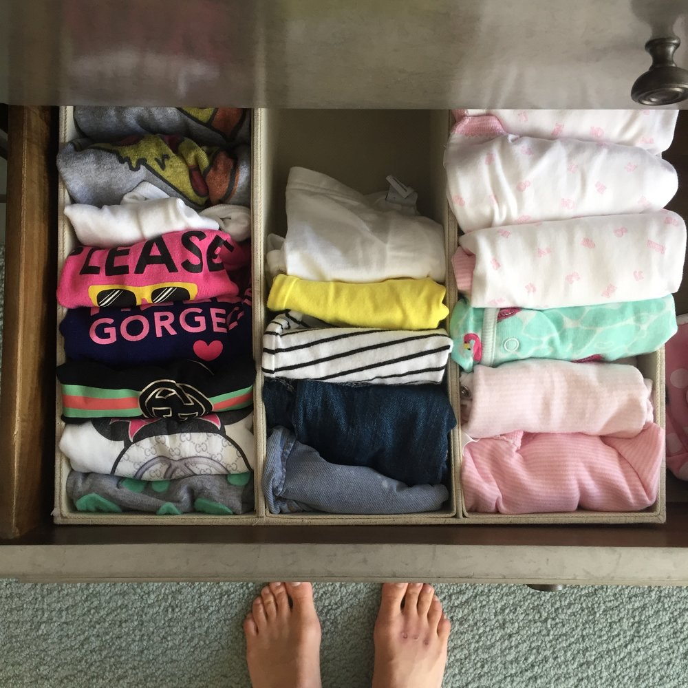 3-Section Drawer Divider - This is the answer to the how-do-I-store-that-itty-bitty-clothing woe! The 3-section organizer will perfectly hold your baby's clothing in place and help you separate the short sleeves from the footsies from the t-shirts and the what nots.