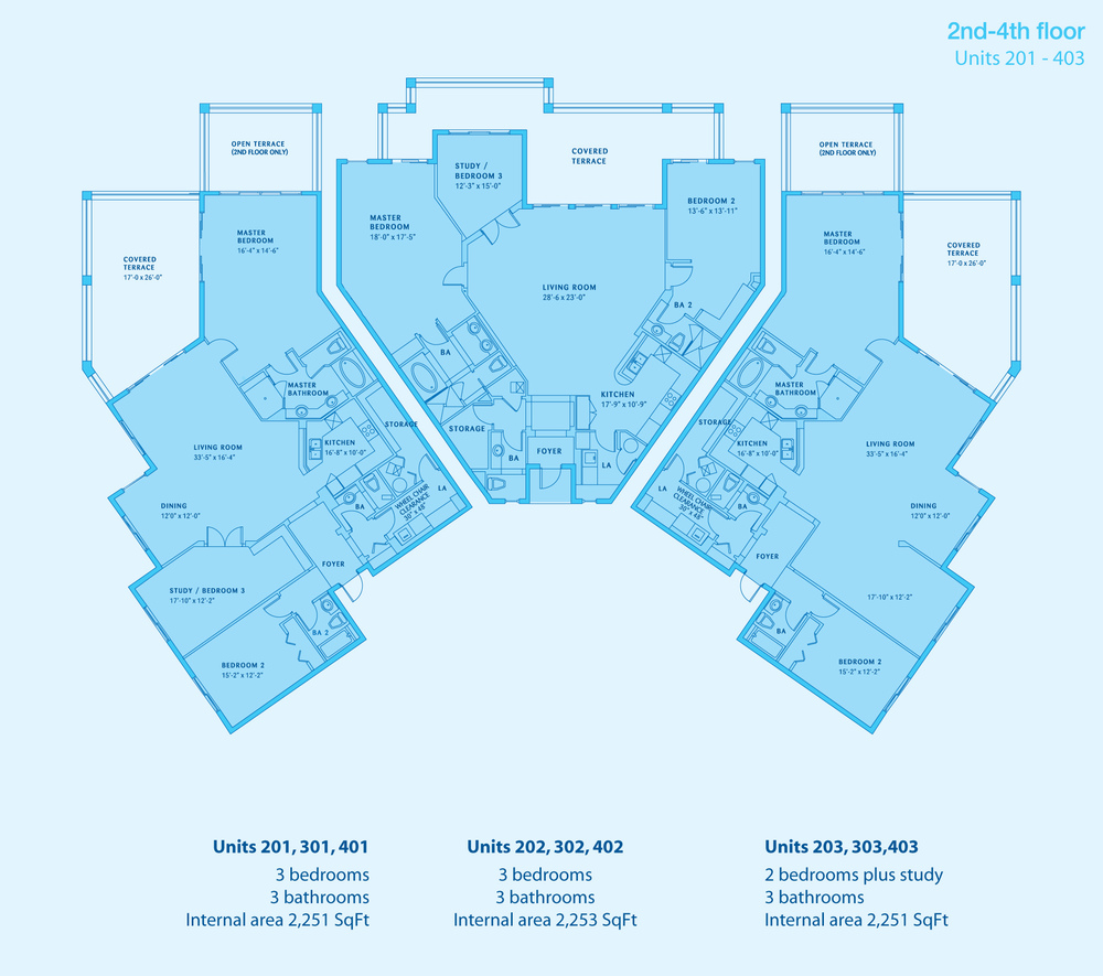 TWO AND THREE BED CONDO PLANS - CLICK TO ENLARGE