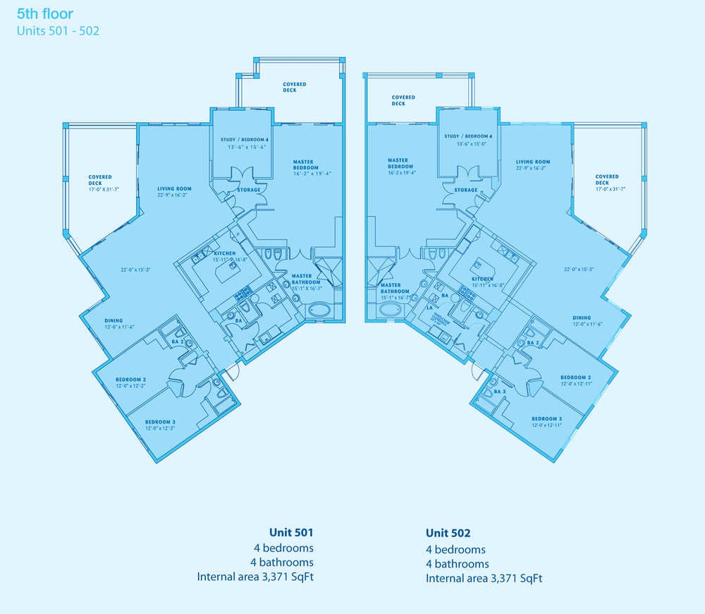 FOUR BED PENTHOUSE CONDO PLANS - CLICK TO ENLARGE