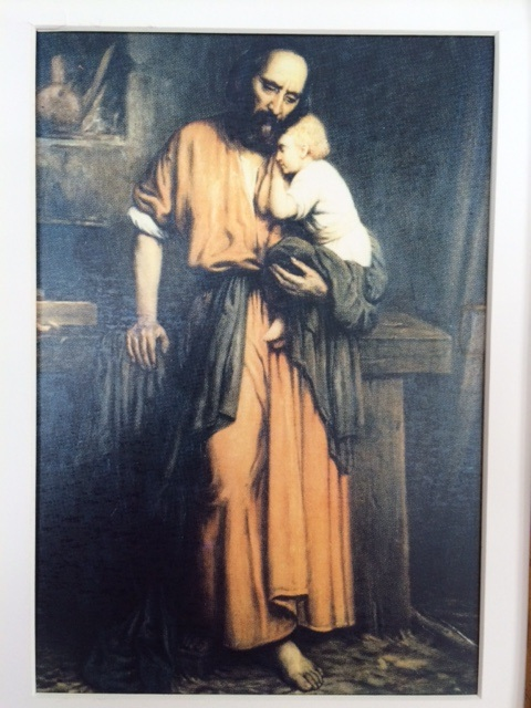 My favorite image of St. Joseph with Jesus given to me by a dear friend who is with God.  Artist unknown.