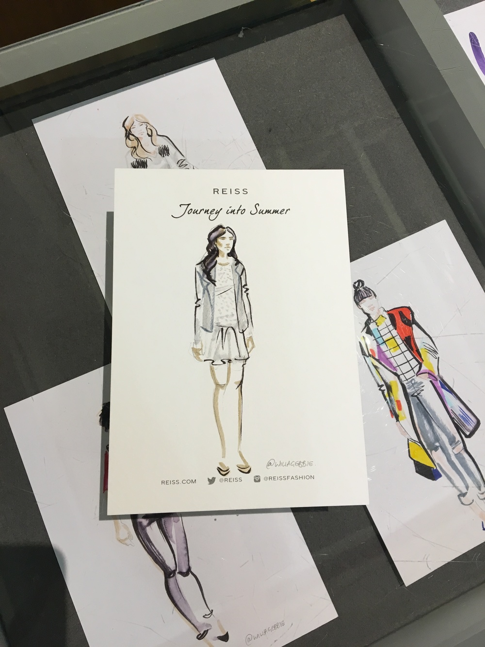 Willa Gebbie live fashion illustration at Reiss AW16 with lilcollective