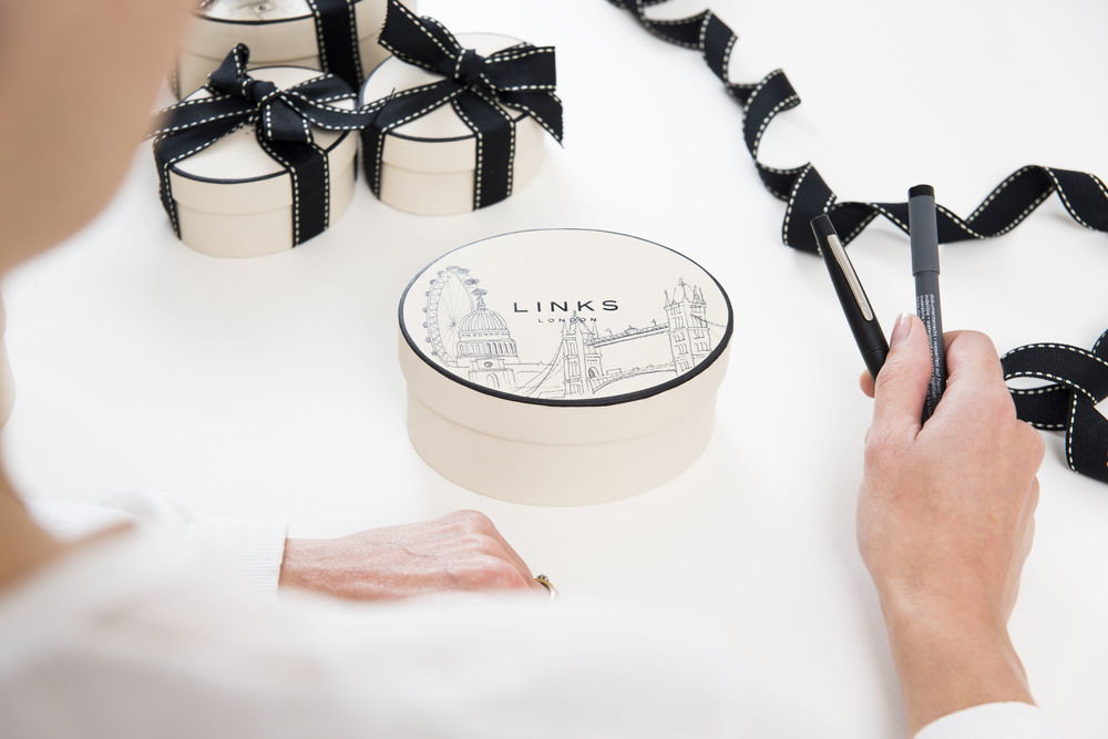 Willa Gebbie hand-illustrated packaging at Links of London, Harrods, London with LiL colective