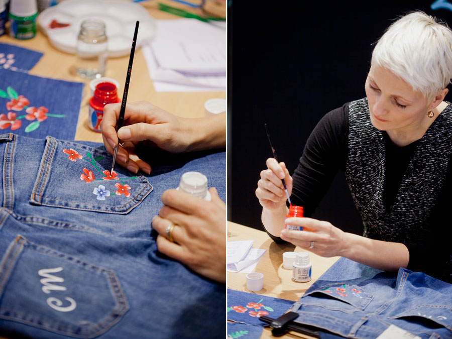 Willa Gebbie live illustration at Topshop denim customisation