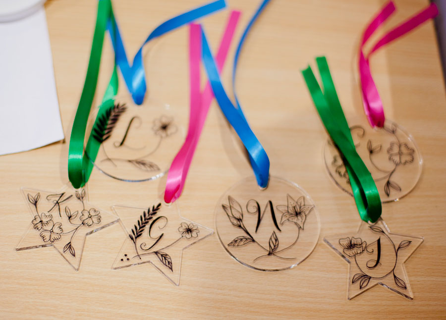 Personalised, hand-illustrated baubles by Willa Gebbie