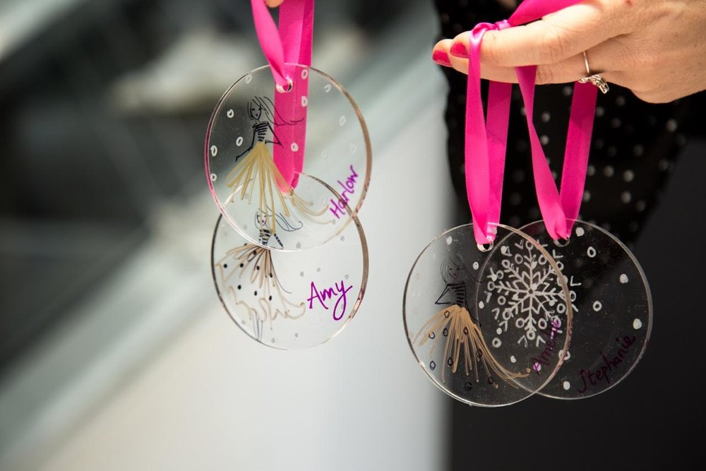 Niki's stunning personalised baubles with little fashion illustrations