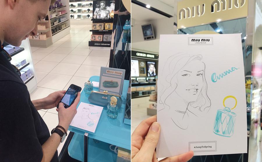 Live illustration with Miu Miu Willa Gebbie