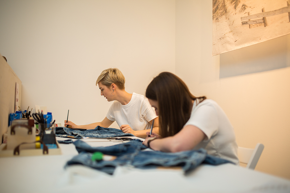 Trinity Mitchell hand painted denim - customisation for Lindex Press Launch