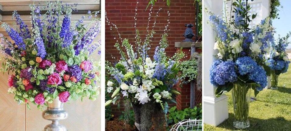 elegant delphinium arrangements