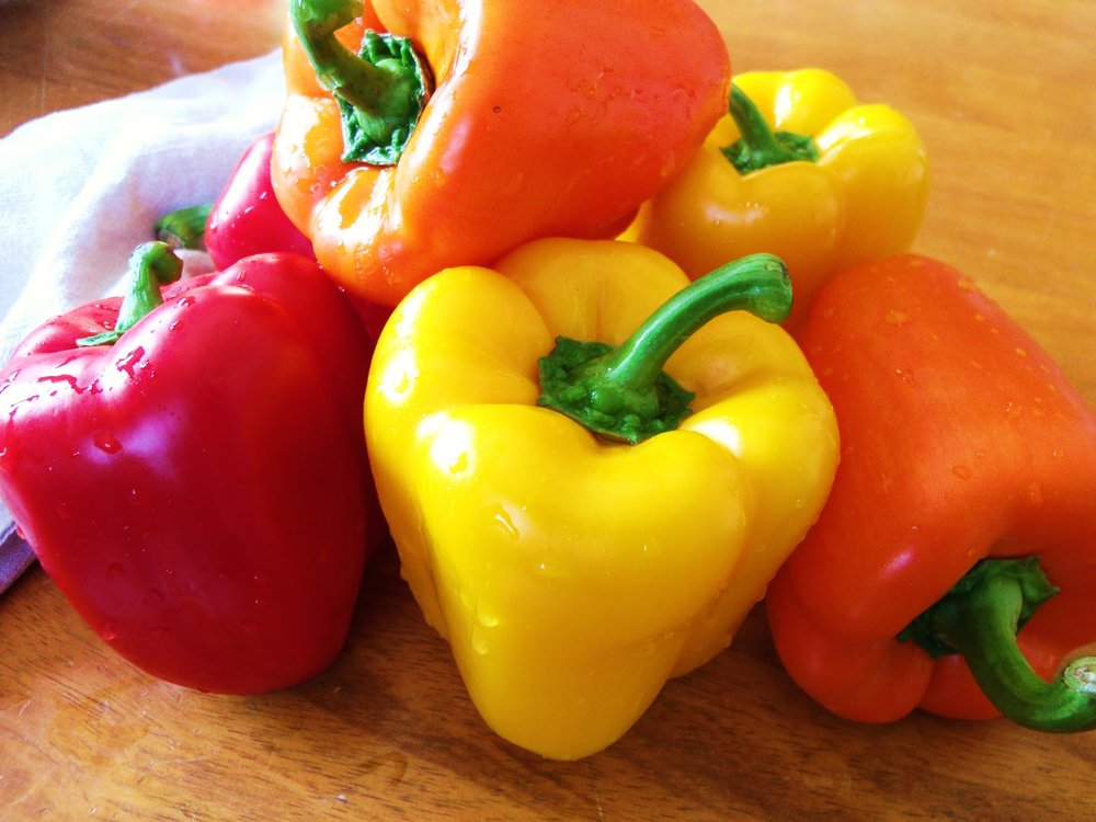 red orange yellow bell peppers