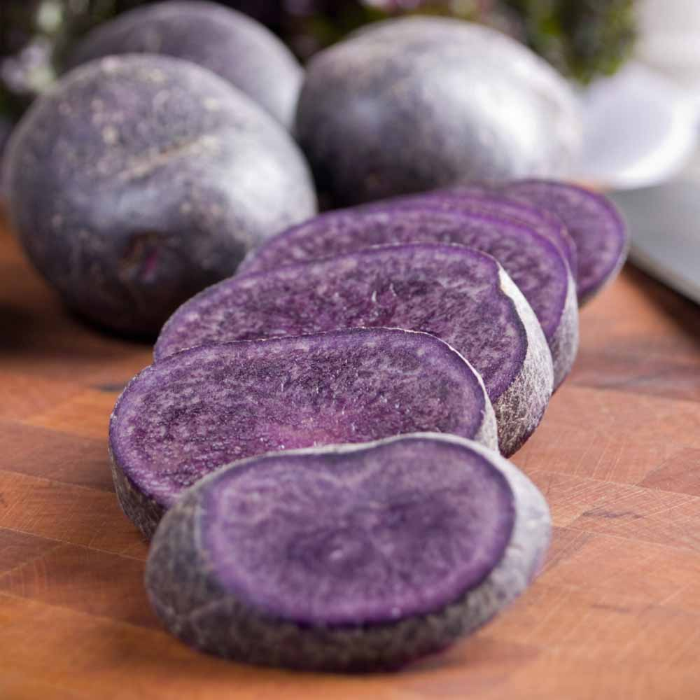 cut adirondack blue potatoes