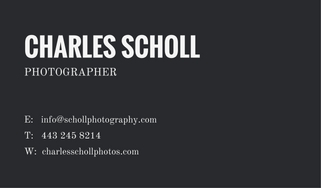 photographer's business card example