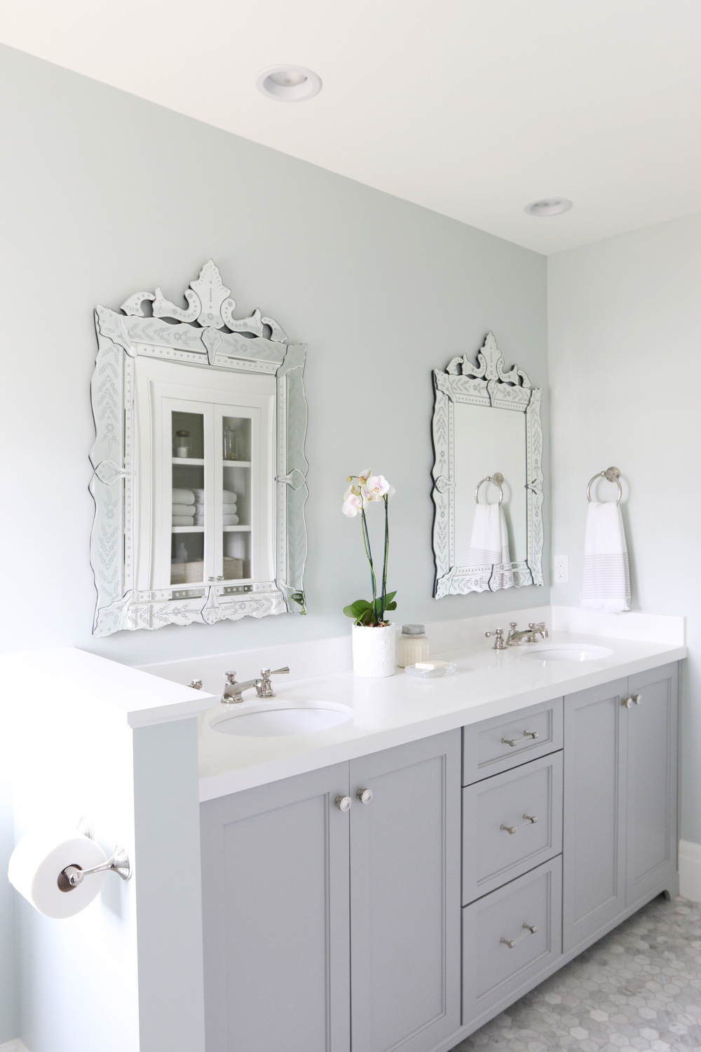 Sea Salt (Sherwin Williams) used in a  beautiful guest bathroom in The Midway House  designed by  Studio McGee .