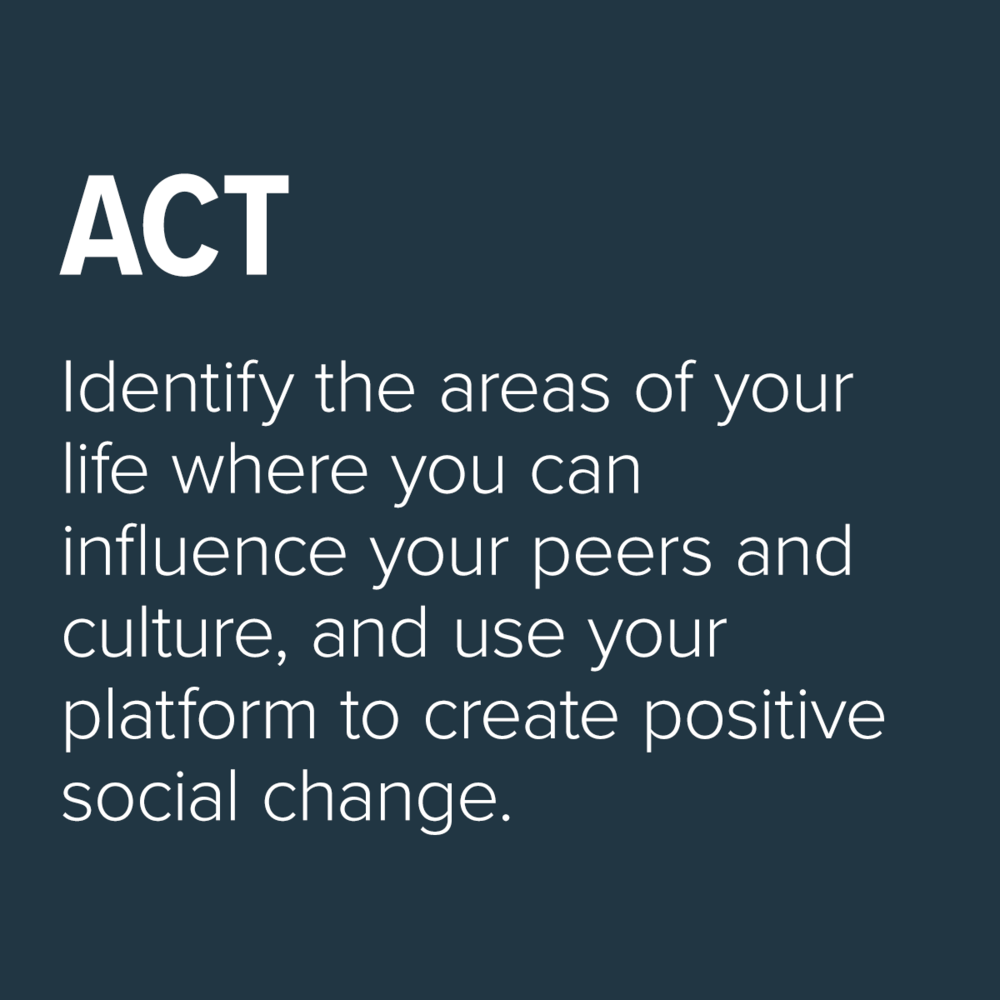 Identify the areas of your life where you can influence your peers
