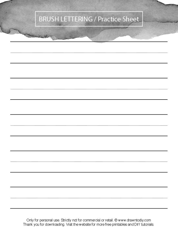 Brush Lettering Practice Sheet — Drawn to DIY