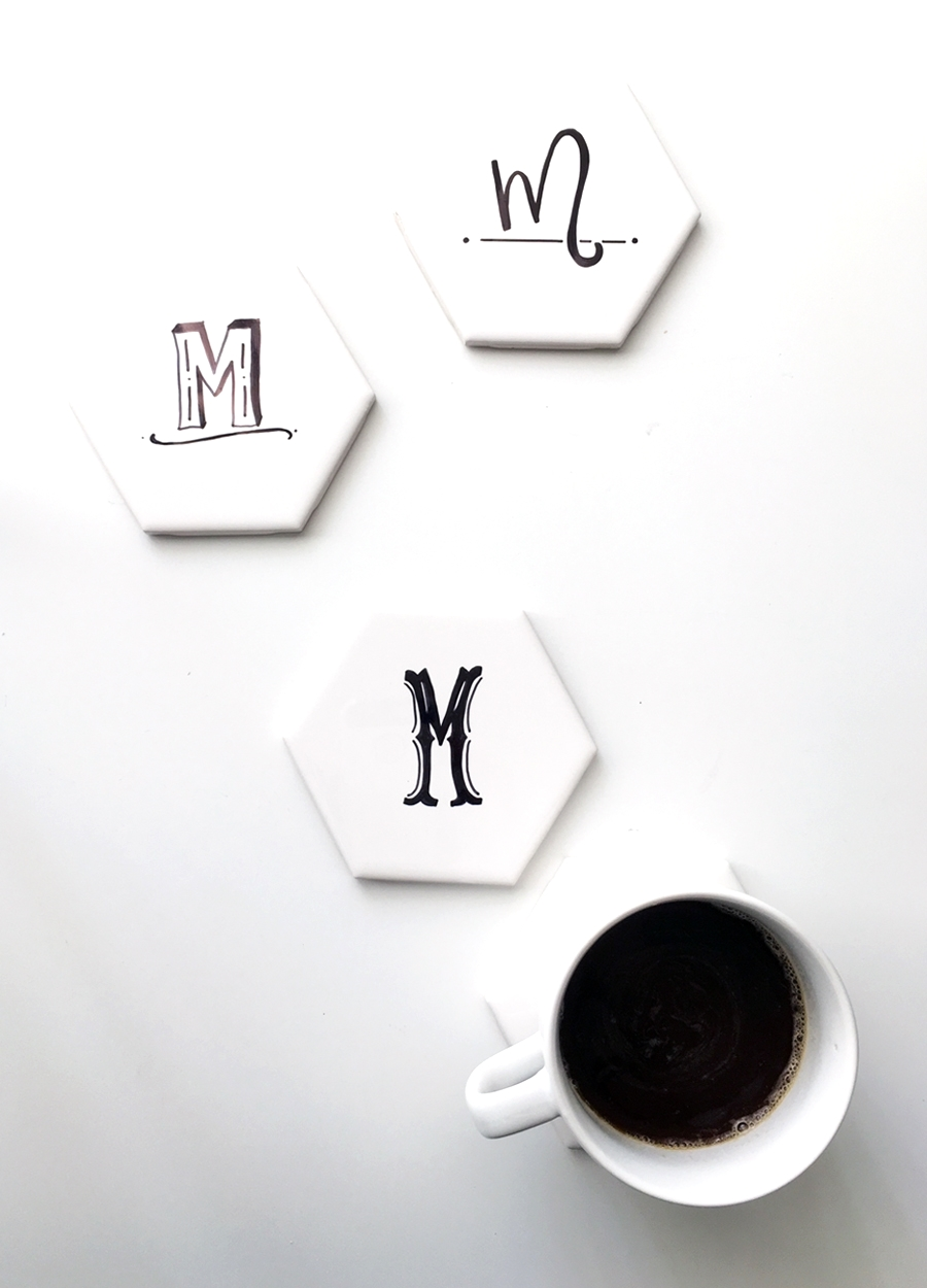 DIY Hexagon Tile Coasters with Initials — Drawn to DIY