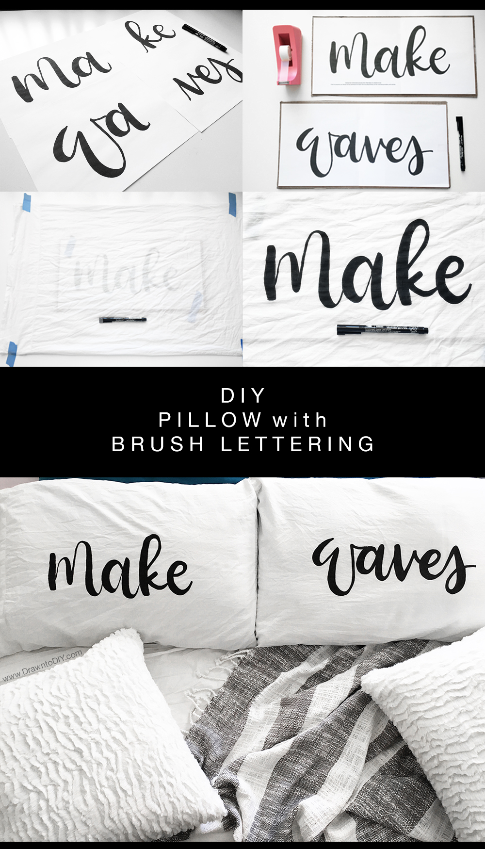 DIY Pillow with Brush Lettering by Drawn to DIY