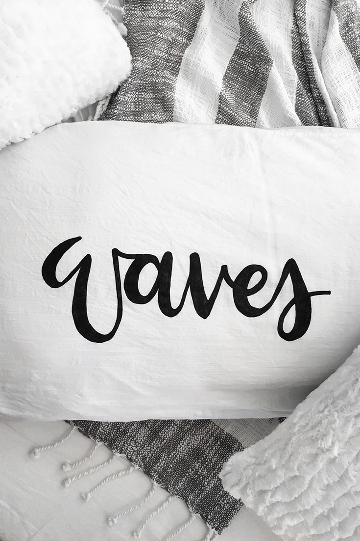 DIY Brush Lettered Pillow by Drawn to DIY 05